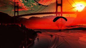 Превью обои река, мост, закат, парашютисты, птицы, лодки