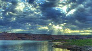 Превью обои река, отражение, небо, лето