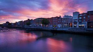 Превью обои река, здания, закат, архитектура, мост