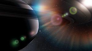 Превью обои рендеринг, космос, планеты, свет