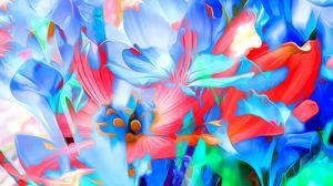 Превью обои рендеринг, цветы, арт, линии, яркий