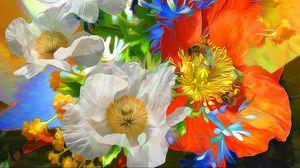 Превью обои рендеринг, цветы, яркий, линии