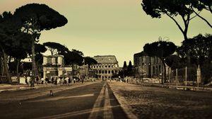 Превью обои рим, италия, колизей, город, улица, люди, дорога, деревья