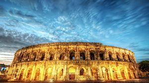 Превью обои рим, италия, колизей, свет, вечер, hdr