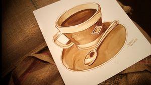 Превью обои рисунок, чашка, кофе, кофейные зерна