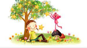 Превью обои рисунок, детство, фантазия, девочка, зверёк, грибы, одуванчики, дерево, звёзды, улыбка, косички, лужайка, трава