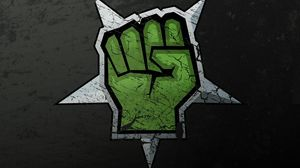 Превью обои рисунок, граффити, рука, зеленый