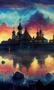 Превью обои рисунок, краски, монастырь, небо