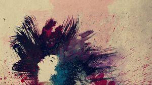 Превью обои рисунок, краски, волосы, темный