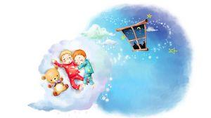 Превью обои рисунок, облака, малыши, сон, детство, пижамы, окно, месяц, звёзды, плюшевый мишка