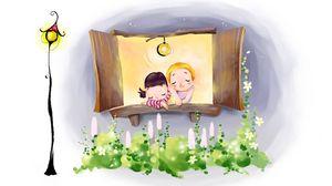 Превью обои рисунок, окошко, уют, пара, фонарь, цветы