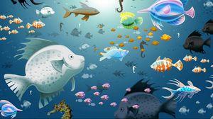 Превью обои рисунок, рыбы, подводный мир