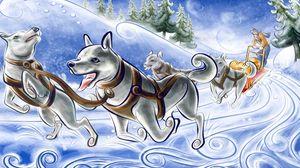 Превью обои рисунок, собаки, повозка, упряжка, снег, бег
