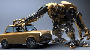 Превью обои робот, автомобиль, крушение