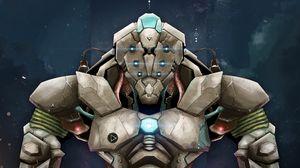 Превью обои робот, броня, арт, воин