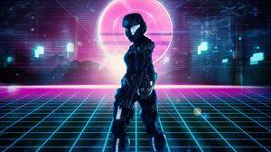 Превью обои робот, броня, sci-fi, киберпанк