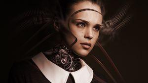 Превью обои робот, девушка, киборг, будущее, грусть, слезы, чувства, искусственный интеллект