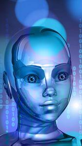 Превью обои робот, киборг, бинарный код, лицо, металл