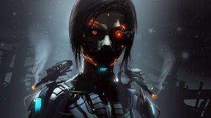 Превью обои робот, киборг, глаза, темный