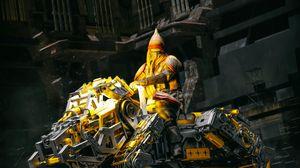 Превью обои робот, конструкция, всадник, фантастика