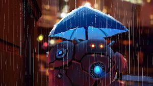 Превью обои робот, улица, дождь, арт, зонт