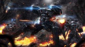 Превью обои роботы, машины, огонь, война, стрельба