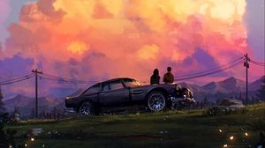 Превью обои романтика, любовь, машина, закат, арт