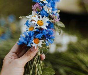 Превью обои ромашки, василек, рука, цветы, плетение