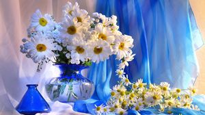Превью обои ромашки, ваза, цветы, букет, оформление