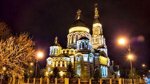Превью обои россия, харьков, собор, вечер, огни города
