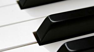 Превью обои рояль, пианино, клавиши, белый, черный