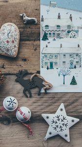 Превью обои рождество, арт, игрушки