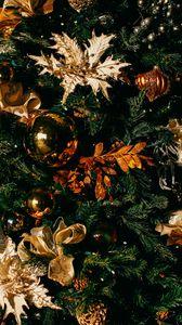 Превью обои рождество, елка, новогодние игрушки, новый год