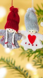 Превью обои рождество, игрушки, ветка, ангелы