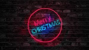 Превью обои рождество, надпись, подсветка, стена