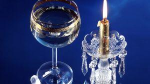 Превью обои рождество, новый год, свеча, хрусталь, бокал