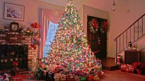 Превью обои рождество, праздник, елка, подарки, камин, дом