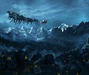 Превью обои рождество, сани, полет, санта клаус, город, горы, праздник