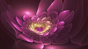Превью обои розовый, цветок, форма, фрактал