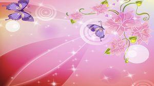 Превью обои розовый, фон, блики, бабочки, цветы