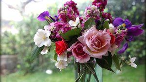 Превью обои розы, цветы, жасмин, букет, ваза, окно