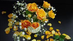 Превью обои розы, гипсофил, букет, лепестки