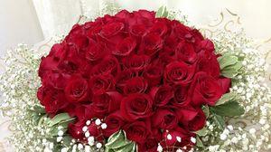 Превью обои розы, гипсофил, букет, оформление
