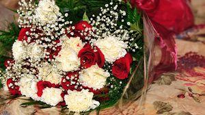 Превью обои розы, гипсофил, гвоздики, букет, оформление