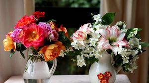 Превью обои розы, лилии, жасмин, букеты, кувшины