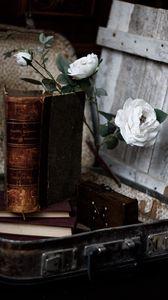 Превью обои розы, цветы, книга, винтаж, эстетика