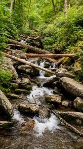 Превью обои ручей, вода, бревна, камни, природа