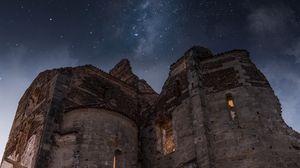 Превью обои руины, архитектура, звездное небо, венето, италия