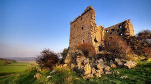 Превью обои руины, горы, поляна, сооружение, камни, архитектура