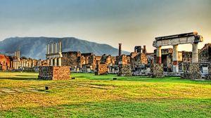 Превью обои руины, развалины, греция, трава, каменный, колонны